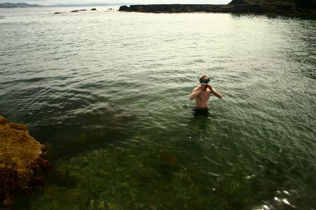 Braving the icy waters, it didn't lask long