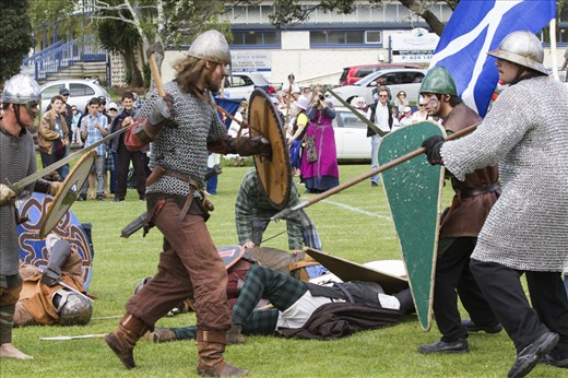 Historic re-enactment as the Scotts defend the fall from Viking attack