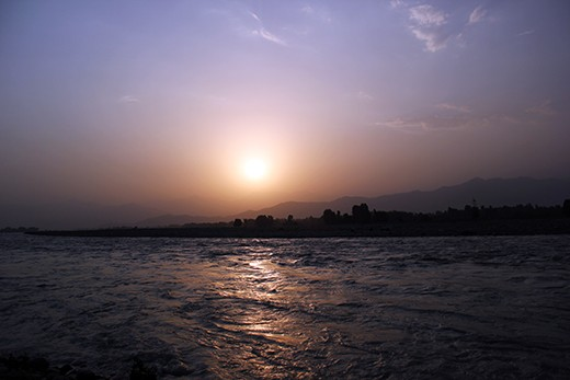 The sun become set behind the high mountains of Sawat