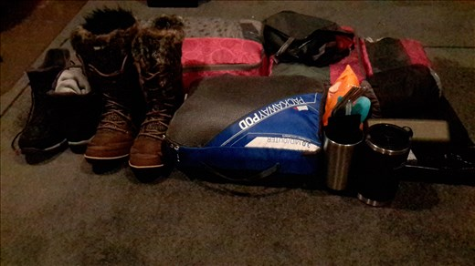 The practice pack - 16 kilos (mostly shoes...)