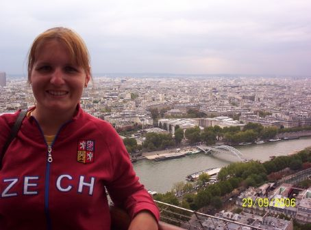 Me taking in the views of Paris from the second floor of the Eiffel Tower