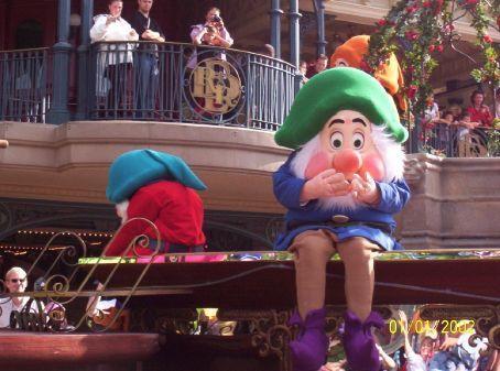 Two of Snow White's seven dwarves in Disneyland Paris