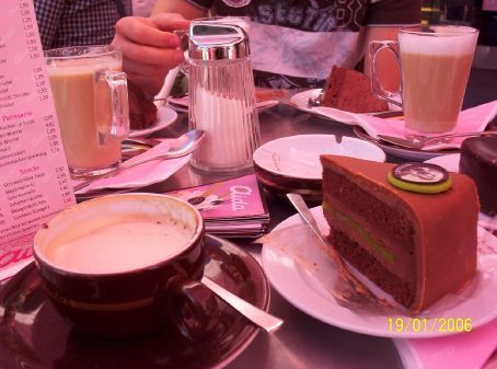 Enjoying coffee and Mozart kuchen in a Viennese cafe