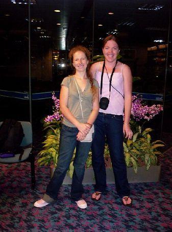 Jade and Kat, Singapore airport