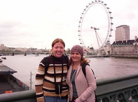 Kat and Mel, the London Eye in the background
