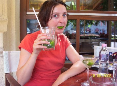 Mel with a cold mojito in Budapest