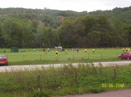 A junior game of shinty in the Scottish highlands