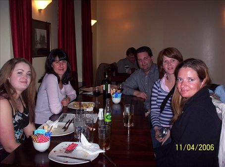 Dinner at the Castle Arms when Andrea came for a visit - Charli, Alicia, Jeremy, Brook, Andrea
