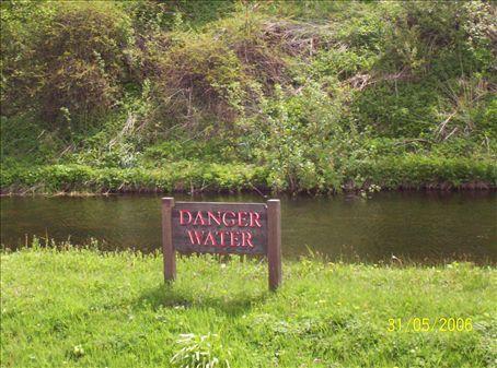 Danger water at Edradour Distillery