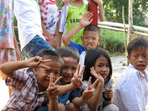 Some of the kids from the fishing village