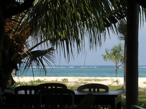 Kuta Beach Lombok. View from homestay restaurant