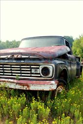 This car was also found in the same yard. The emptiness of the field isolates the abandoned car. : by meredithmcgee16, Views[105]
