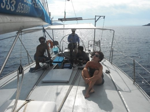 Sailing from Trapani to Egadi Islands with our couch surfing host, Dario, and his friend and family.