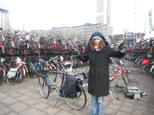 Jess was shocked by the bicycle parking - both the amount of bikes, the chaos and the actual existence of such a place. It's a North European thing with bikes and the following parking problems