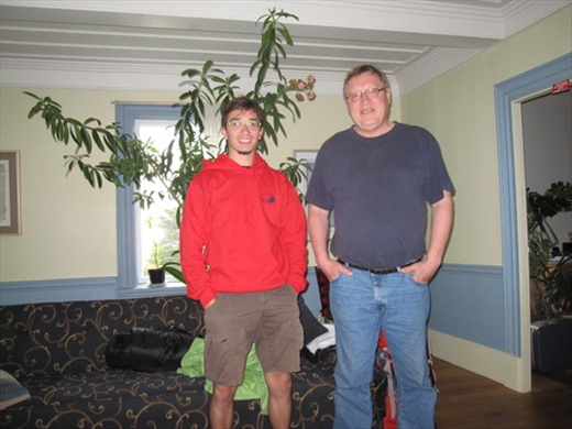 At the end of the day.. couchsurfing! Serge and me, Riviere du Loup, QC