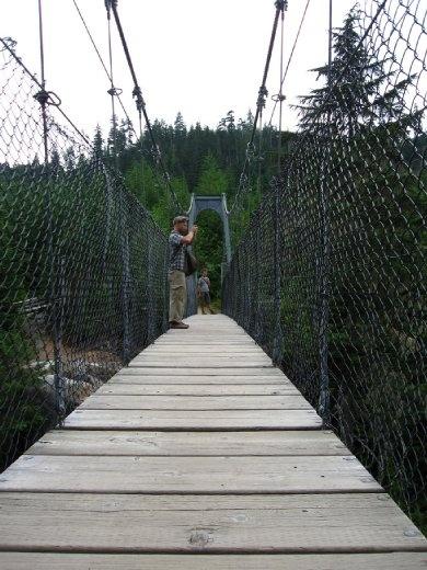 Sospension bridge. Hiking around Whistler Creek, BC