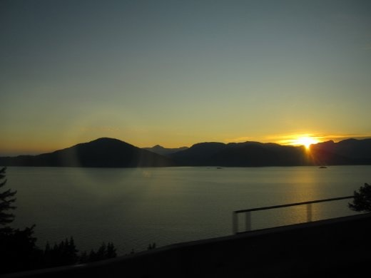 Sunset on Georgia Srait by the Sea to Sky higway.. coming back to Vancouver.