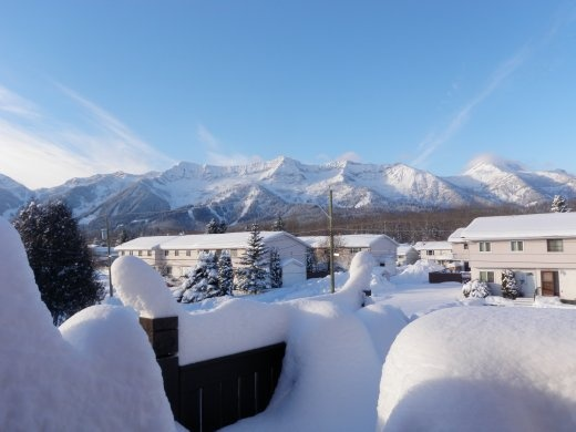 After the storm cleared - view from our deck of the ski hill