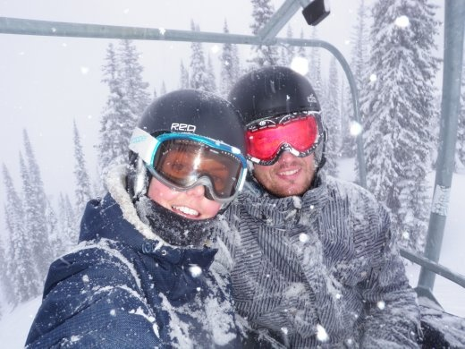 Us on the chair when it was snowing 5cm an hour