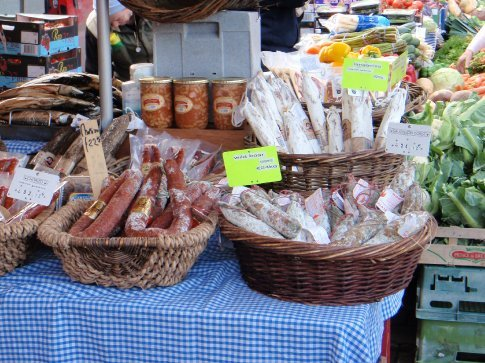 Beautiful salamis, sausages  (including Salmon sausages, which we didn't actually try), and pates