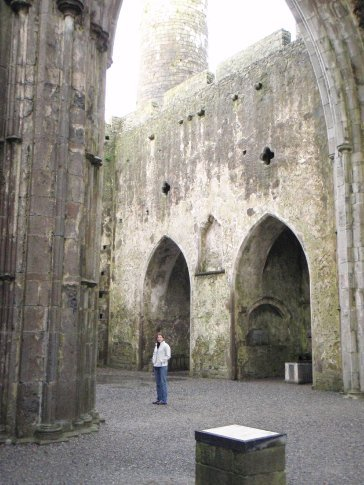 Em inside the main part of the Cathedral on the Rock of Cashel