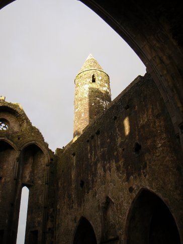 The Round Tower - standing at 92ft. It is the earliest building on the Rock of Cashel, possibly dating to the 10th century. The original door was 12ft above the ground - only in Ireland.
