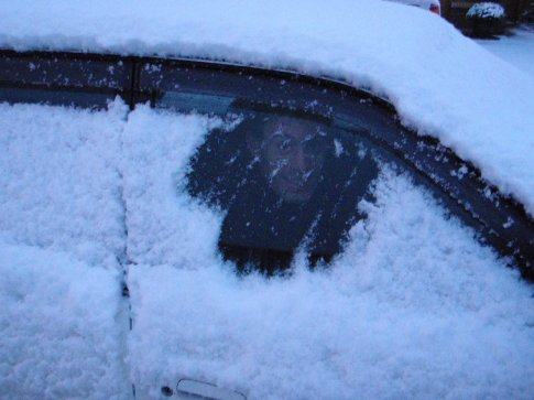 Getting ready for the drive to work. There may be some problems seeing out the windows.