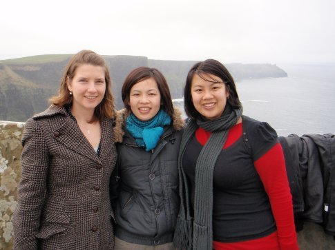 Em, Amanda, and Nic at the Cliffs of Moher