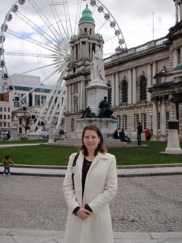 Em outside Belfast town hall and near the Belfast wheel.