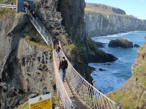 Maneesh on the rope bridge at Carrick-a-rede island, Co. Antrim.