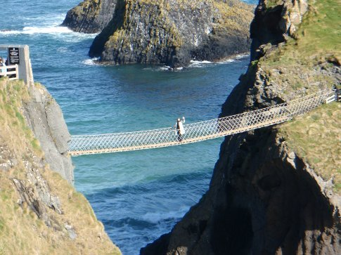 Em on the Carrick-a-rede island rope bridge, Co. Antrim.