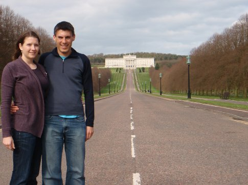 Emma and Maneesh at the Stormont in Belfast.