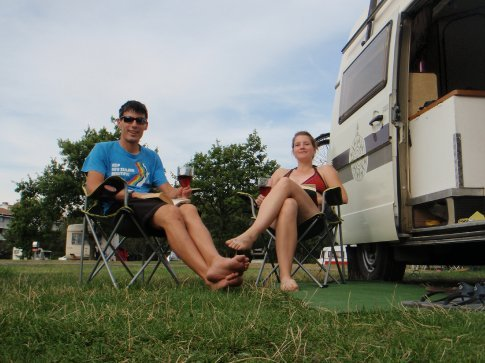 Relaxing at the campsite over the sea after our journey across the bridge from Denmark.