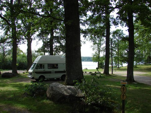 Our campsite at Kungsor, with the lake in the background that we went kayaking on.