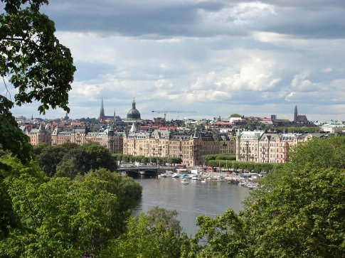 A view over Stockholm and one of the canals.