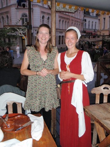 Em and our waitress at the medieval restaraunt.