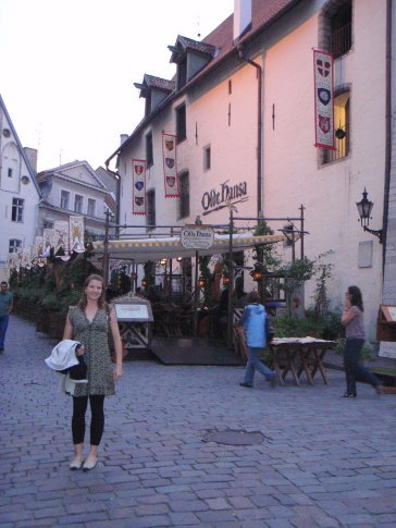 Em outside Olde Hansa medieval restaraunt, the place of her birthday dinner; old town, Tallinn.