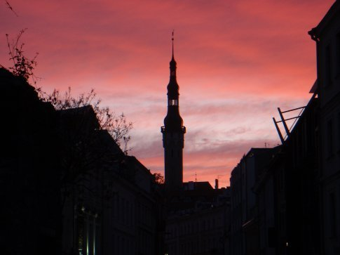 The sunset in old town, Tallinn.