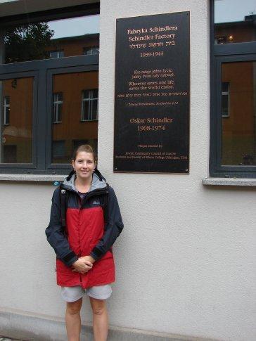 Em outside the Schindler factory, Krakow.