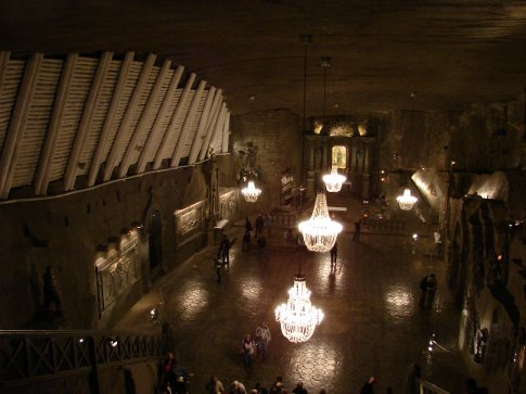 Inside the Wieliczka Salt Mine. This is the main chapel, everything is carved out of rock salt.