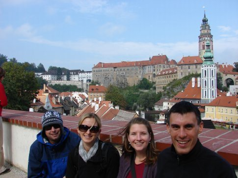 James, Julie, Emma, Maneesh at one of the look outs in Cesky Krumlov. The photo does not do the town justice.