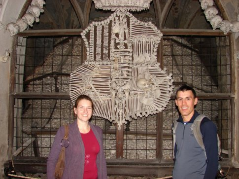 Us in front of the crest at Kutna Hora. This is made entirely out of bones.