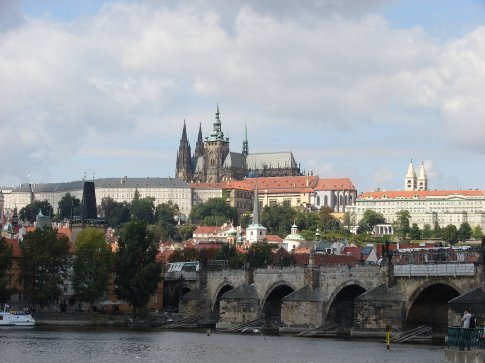 In Prague; the Charles Bridge with the castle in the background.