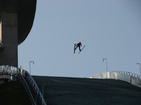 One of the ski jumpers in action in Innsbruck. Amazing to see.