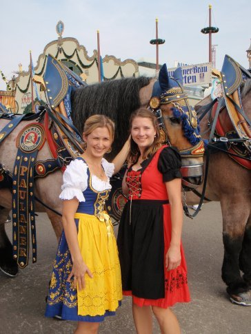 Julz and Em with some of the horses at Oktoberfest.