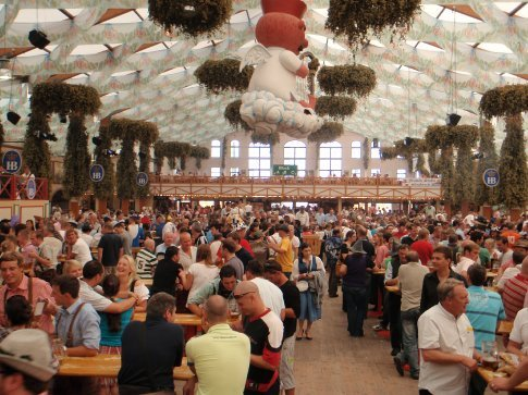 Inside on of the beer halls at Oktoberfest.