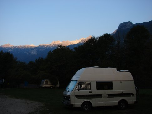 Our campsite at Bovec, with a beautiful sunrise.
