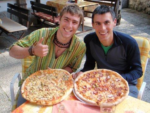 Lunch in Bohinjska Bistrica; one pizza each.