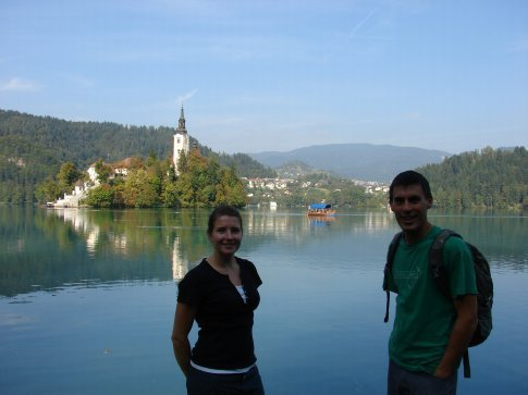 Us at Bled, with the church on an island in the middle of the lake.