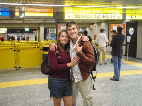 Em and Hamish at the airport before Hamish flew to Barcelona.
